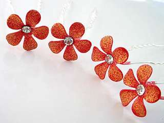 Sparking Red Bridal Flower Crystal Hair Pin ~Set of 4 ~