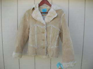 /Ladies NWT B. lucid Beige Soft Suede Leather Jacket Size S Small