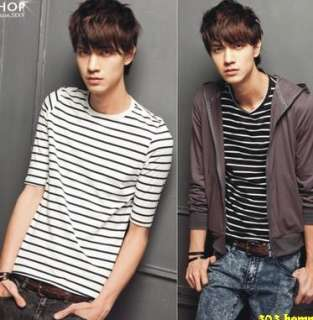 Mens Casual Striped Round Neck Short Sleeve T Shirt