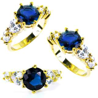 FASHION PERSONALITY BLUE SAPPHIRE YELLOW GOLD GP COCKTAIL JEWELRY RING