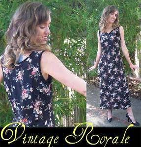vtg 80s silk black floral Laura Ashley long dress M L