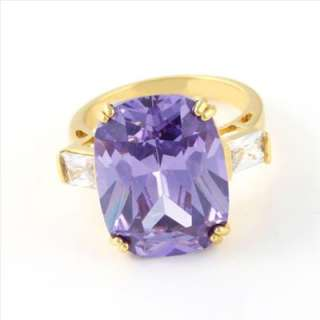 Deluxe women 18k yellow gold Filled GF CZ Ring 9#