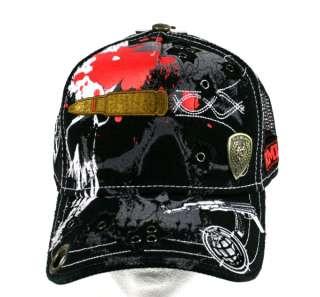 Red Monkey HEAD SHOT Trucker Cap Hat Black embroidered Skull