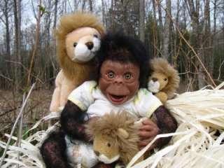 Lifelike Newborn Realistic baby girl Chimpanzee Monkey Chimp Ape OOAK