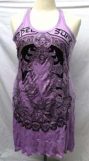 Ganesh & Skull w/ Stitch T Shirt Mini Short Tank Dress Tunic TOP Sz
