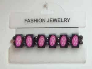 Pink Ribbon Hematite Bracelet Breast Cancer Awareness R22