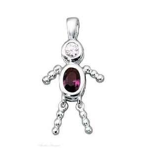 Sterling Silver February Birthstone Babies Boy Child Pendant Jewelry