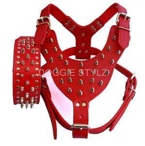 Black Leather Dog Harness & Collar SET spikes studs Pit Bull 26 34