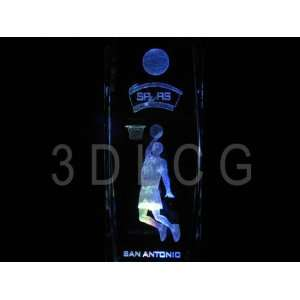 NBA San Antonio Spurs 3D Laser Etched Crystal 6 Inch FREE