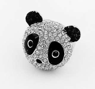 Fashion Crystal Rhinestone Enamel Panda Bear Finger Ring Women Jewelry