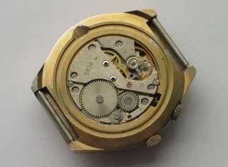 Modern russian RAKETA watch Big Gold plated case, Blue Dial. Perpetual