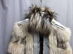 11.4K Lanvin Silver Fox Fur Wool Blends Jacket Coat 40 NWT