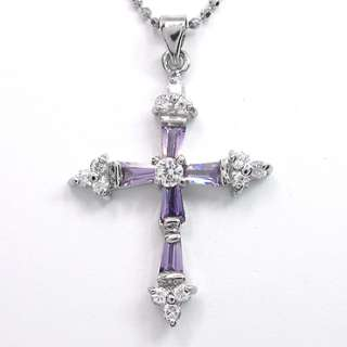 CHRISTMAS GIFT JEWELRY CROSS CUT PURPLE AMETHYST WHITE GOLD GP PENDANT