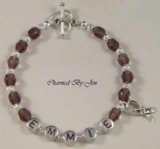 LUPUS Awareness PERSONALIZED Name Bracelet w/ Charm