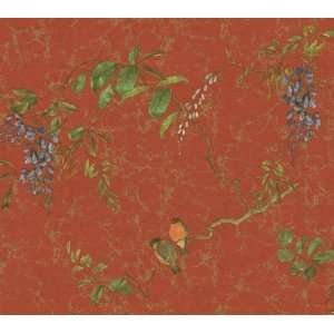 floral vines red wallpaper in kitchen style