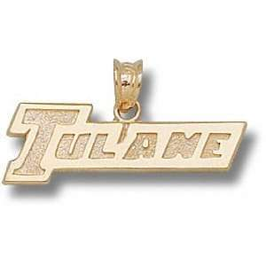 Tulane Green Wave Solid 10K Gold TULANE 5/16 Pendant