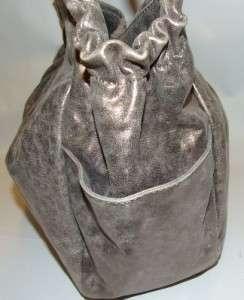 Michael Michael Kors Erin Tote Bag Purse Handbag Silver Metallic