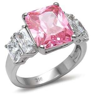 cut CZ in Stainless Steel setting Womens Ring Sizes 5   10