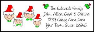 Custom SANTA HAT Stick figure Family Address Labels