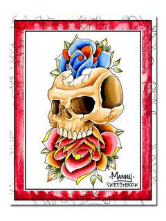 Tattoo Flash Sketch Book Traditional Classic Skull Rose
