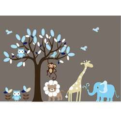 Nursery Wall Art Boys Safari Animal Tree Wall Decal Set