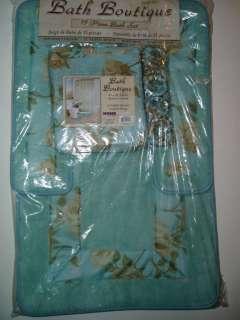 ROSES BATH AQUA TEAL BLUE FABRIC SHOWER CURTAIN RUG HOOKS SET