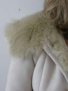 FAUX SHEEPSKIN SHEARLING FUR LINED HOODED LADIES JACKET PARKA COAT ~XS