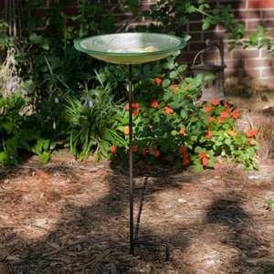 Two Fish Green Ceramic Bird Bath Bowl and Stake Set Hardware