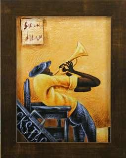 Backstage Blues Music Black Man Musician Bugle Trumpet Art FRAMED OIL