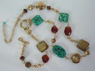 Premier Designs CANYON Necklace $35 RV Turquoise/Shells/Gold