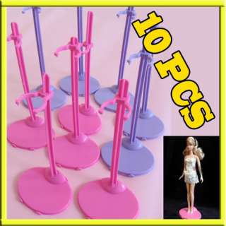 10pcs Barbie Dolls Toy Stand Mannequin Model Display Holder Pink