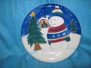 MAKE THE SEASON BRIGHT HOLIDAY CHRISTMAS PLATE SNOWMAN