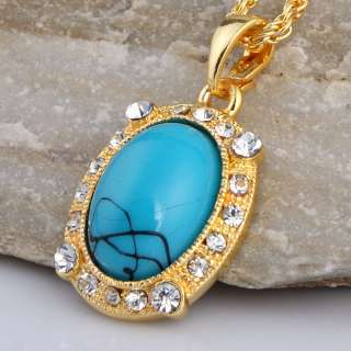 blue howlite turquoise round bead chain necklace earring set