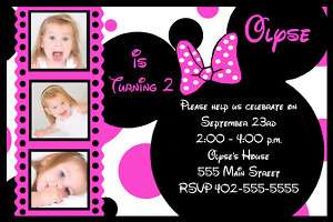 Custom Mickey & Minnie Mouse Birthday Invitations cards