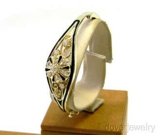 Antique Diamond Gold Black Enamel Bangle Large Bracelet NR