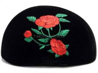 DOT Fabric Black Motorcycle HALF Helmet Rose Scooter ~M