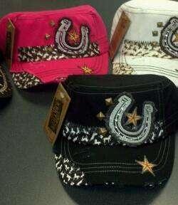 NWT NEW CAP CADET COWGIRL HORSESHOE BASEBALL HAT BLACK PINK WESTERN