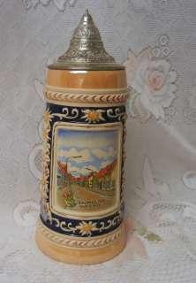 Vintage Large GERZ German Lidded Beer Stein Mug |