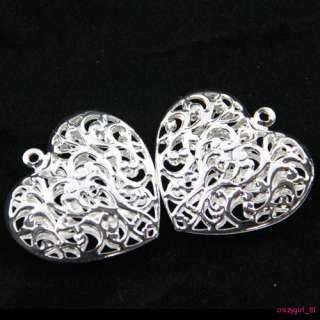 15Pcs Silver Plated Big Hollow Heart Charms Pendants Findings 38x40mm