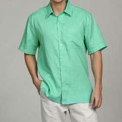 Visitor Mens Aqua Blue Linen Shirt