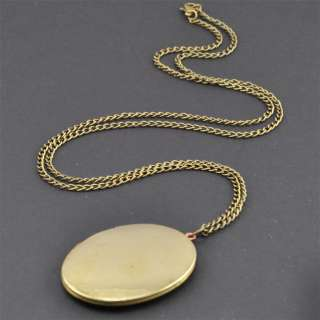 LARGE Brass VINTAGE Locket Long Necklace,Plain,Antique