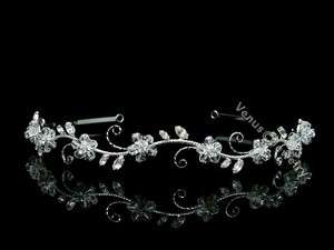 Bridal Flower Rhinestones Crystal Wedding Headband Tiara 7599