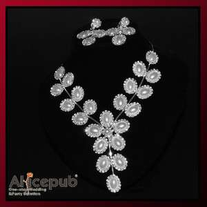 White Noble Flower Y shape bridal Necklace & Earring Set with Crystal