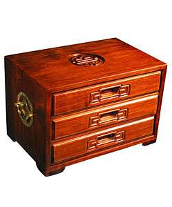 Handmade Symbol of Joy 3 drawer Wood Jewelry Box