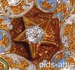 Victorian 14K Rose Gold Diamond Champleve Enameled Eastern Star Brooch