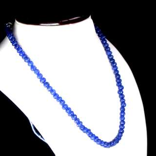 TOP GRADE AAA 210.00 CARAT NATURAL CARVED BLUE SAPPHIRE BEADS NECKLACE
