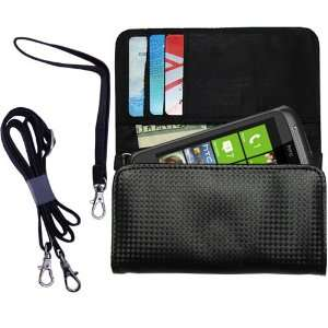 Black Purse Hand Bag Case for the HTC 7 Mozart with both a