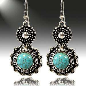 COWGIRL Southwestern Style Silver & Turquoise Hook Earrings