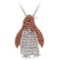 Rose Gold over Silver Champagne Diamond Penguin Necklace