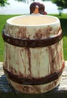 VINTAGE HILLBILLY Style HANDLE BARREL KEG Ceramic MUG CUP 1960s
